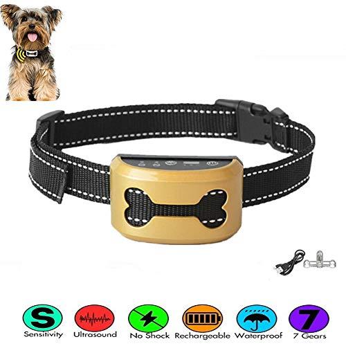 01 Collar antiladridos para perro, dispositivo de parada de ladrido, impermeable, recargable, sin choque con luz LED y cinturón ajustable, para perros pequeños, medianos y grandes