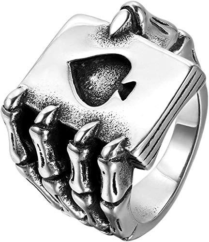 QAZXCV El Anillo De Acero Inoxidable Elegante para Hombre, Gótica del Cráneo De La Mano De La Garra De Cartas Poker Jugar, Negro Plata,11