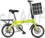 TTZY Las Bicicletas Plegables, 20' Peso Ligero Plegable de la Ciudad de la Bicicleta de Doble Freno de Disco Delantero con la Cesta y Posterior Contrapunto 6-11,14Inch SHIYUE