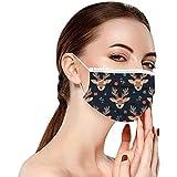 50 unidades de mascarillas para adultos con diseño de Navidad, transpirables, desechables, protectores de nariz y boca, 3 capas, resistentes al polvo, elásticas, para el cuello