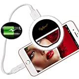 Raphycool Selfie Light Ring Lights 36 LED Circle Light Clip-On Phone Charger 1500mAh Power Bank Rechargeable Compatible for Cell Phone Laptop Camera Photography Video Lighting Black