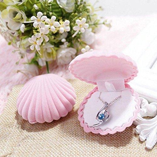 AchidistviQ Schmuckschatulle in Muschel-Form, Geschenk-Box für Halskette, Ohrringe, Ringe, Ohrringe, Ringe, Ohrringe, Box für Persönlichkeit, plastik, rose, Does Not Apply