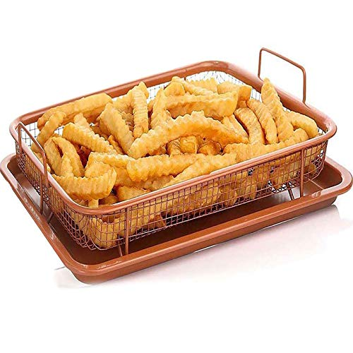 Copper Crisper Tray Nonstick Bakeware Set with Air Fryer Pan and Baking Sheet for Oven 2-Piece Set Rectangle Baking Pan