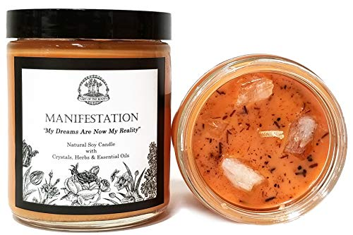 Manifestation Affirmation Candle 8 oz Natural Soy Wax with Citrine Crystals, Herbs & Essential Oils for Dreams, Wishes, Goals & The Law of Attraction for Wiccan, Pagan & Magic Spells & Rituals