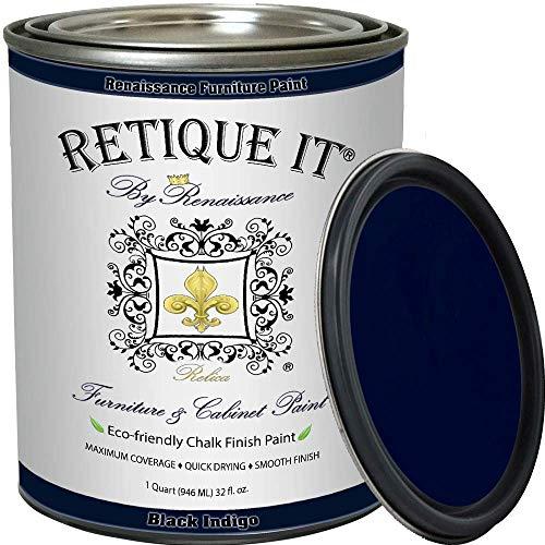 Renaissance Chalk Finish Paint - Black Indigo 1 Pint (16oz) - Chalk Furniture & Cabinet Paint - Non Toxic, Eco-Friendly, Superior Coverage