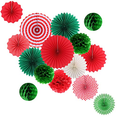 Hanging Party Decorations Set Tissue Paper Fan Paper Pom Poms Flowers and Honeycomb Ball for Christmas Wedding Engagement Graduation Party Decor Green Red Kit