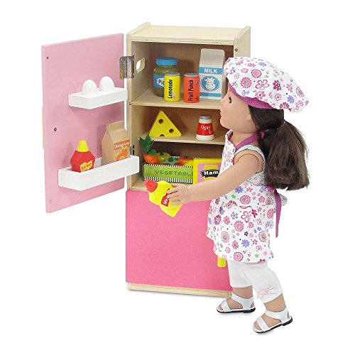 Emily Rose 18 Inch Doll Wooden Play Kitchen Refrigerator with Freezer, Includes 20 Colorful Wooden Pretend Food Accessories | Doll Accessories for American Girl Dolls | Doll Not Included