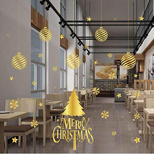 GoldMerry Kerstmis Muursticker Sneeuwvlok Ballen Verwijderbare Shop Raam Decals Kerstversiering voor Thuis 50X32Cm