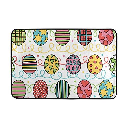 Felpudo decorativo con diseño de rayas de huevos de Pascua de 15.7 x 23.6 pulgadas, para salón, dormitorio, cocina, baño, espuma ligera