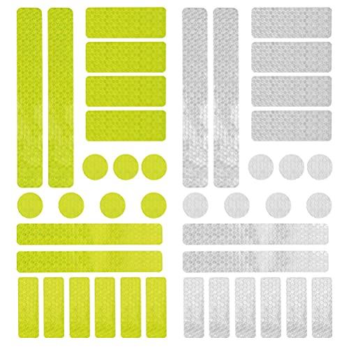 DODUOS 2 Set di Adesivi Catarifrangenti Adesivi di Sicurezza Altamente Riflettenti Adesivo per visibilità Notturna Adesivi per Nastro Adesivo di Sicurezza autoadesivi (Giallo + Bianco)