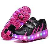 srder Chaussures de Skateboard LED Clignotante Chaussures à roulettes, 7 Colorés Roller Baskets Lumineuse avec Roues Sport Multisports Gymnastique Mode pour Garçons et Filles Enfants