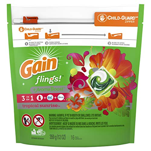 Gain Flings Laundry Detergent Pacs, Tropical Sunrise, 16 Count (Pack of 6) (Packaging May Vary)