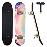 Jecolos Pro Skateboard Complete 7 Layers Deck 31'x8' Skate Board Maple Wood Longboards for Adults Teens Youths Beginners Girls Boys Kids (Sky)