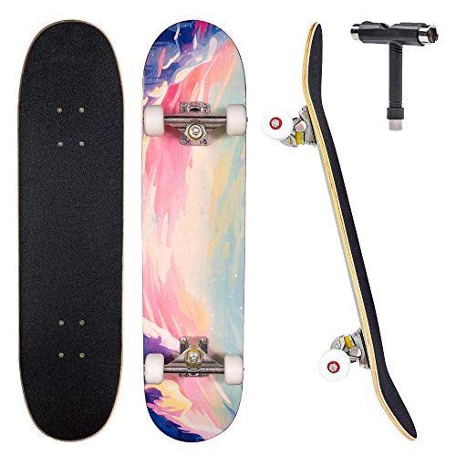Jecolos Pro Skateboard Complete 7 Layers Deck 31quotx8quot Skate Board Maple Wood Longboards for Adults Teens Youths Beginners Girls Boys Kids Sky