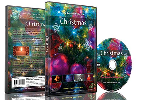 Weihnachten DVD bei Schneefall Weihnachtslichter Kamin und Feuer