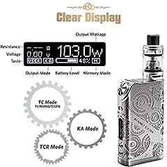 Ciberate® TG 120W E Cigarettes Sub-Ohm 0.15 2ml Tank Adjustable Airflow Electronic Cigarette Vape Box Mod Complete Kit Steampunk Style (120W kit) #1