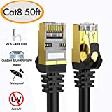 Cat 8 Ethernet Cable 50 ft Shielded, 26AWG Lastest 40Gbps 2000Mhz...