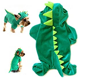 Yunt Outfit Costume de dinosaure en peluche pour animal domestique avec capuche pour petits chiens et chats