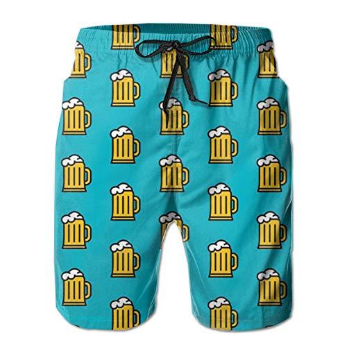 EU Bier Wiederholungsmuster Herren Beachwear Sommerferien Badehose Quick Dry L.