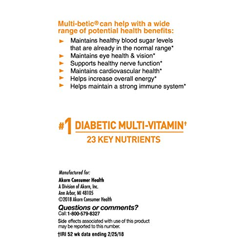 Multi-betic Multivitamin Dietary Supplement, Specifically Formulated for People with Diabetes, 60 Count Box