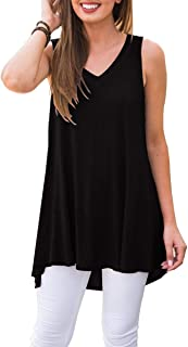 Women's Summer Sleeveless V-Neck T-Shirt Tunic Tops...