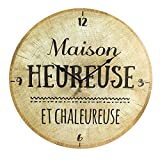 Paris Prix - Horloge Murale en Bois rondin Chalet 50cm Beige