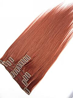 No Shed No Tangle SINA 15 Brazilian Human Straight Hair Extensions 9pcs/set Clip in Hair Extension #33 Rich Copper Red Color