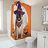 Gamoii Mops H& Halloween Kürbis Orange Duschvorhänge Bad Gardinen 3D Digitaldruck Hotel Haus Gardinen Nicht Gerüche Shower Curtains mit Haken White 91x180cm