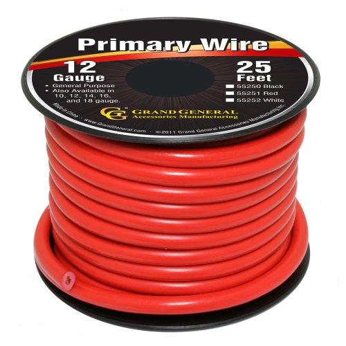 GG Grand General 55251 Red 12-Gauge Primary Wire, 25 Ft