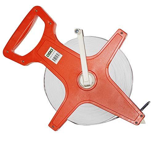 HKB ® 1 Stück Maßband, Rollmaßband, 100 Meter Bandmaß mit Fiberglasband, Kunststoff orange mit ergonomischem Handgriff, ausklappbare Kurbel, 2 Skalen: Meter und Feet, Hersteller HKB, Artikel-Nr. 50749