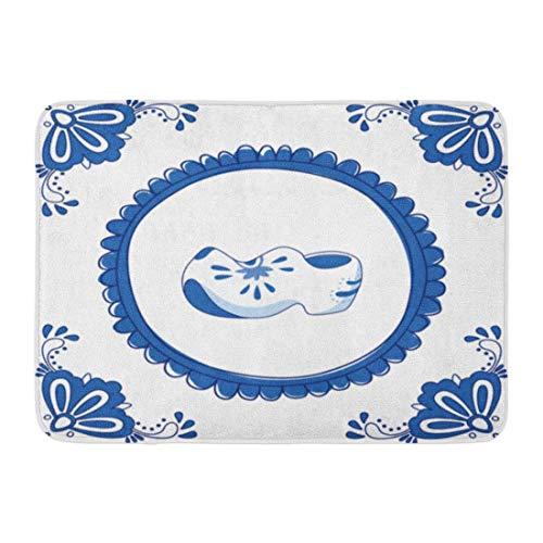 Alfombrillas Alfombras de baño Alfombrilla para Exteriores/Interiores Madera Delft Azul Par de Zuecos Zapatos típicos holandeses Sin gradientes Zuecos Flor Decoración de baño Alfombra Alfombra de b