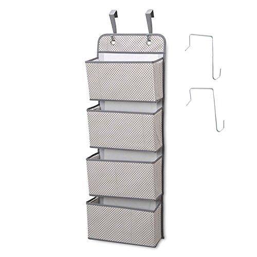 Dreamsy Hängeschrank Organizer, 4-Pocket Wall Mount/Über die Tür Lagerung für Spielzeug, Geldbörsen, Schlüssel, Sonnenbrillen - Grau