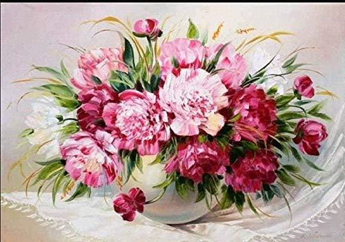punto de cruz con tela estampada-Flor rosa-Kits de bordado para principiantes, niños y adultos con patrón impreso de 11 quilates -40x50cm