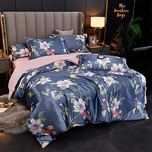 juego de ropa de cama 160x200,Juego de cuatro piezas de seda de seda de seda de seda de hielo de verano, cama cómoda sedosa cama solo paquete de seda cubierta de seda, traje de cama de satén suave de