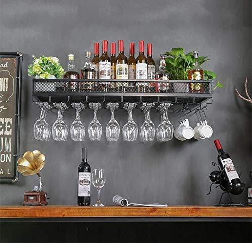 AERVEAL Tenedor de Vino Montado en la Pared Que Cuelga Del Soporte de Vidrio | Tenedor de la Botella de Vino de la Vendimia | Alenamiento de Vino Montado en la Pared Rústica,Negro,120X35Cm