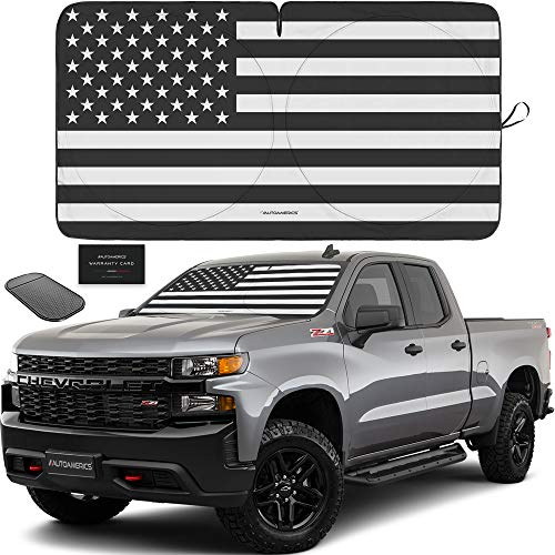 Autoamerics 1-Piece Windshield Sun Shade B&W American Flag USA Patriotic Design - Foldable Car Front Window Sunshade for Most Sedans SUV Truck - Blocks Max UV Rays and Keeps Your Vehicle Cool - Large
