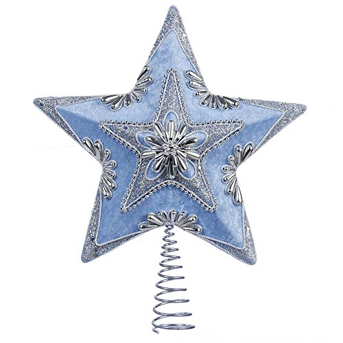 Kurt Adler Pale Star Treetop, 13.5-Inch, Blue and Silver