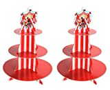 Beistle 2 Piece Printed Durable Cardstock Paper Striped Circus Tent Cupcake Stands And Dessert Holders for Carnival Theme Birthday Party Supplies