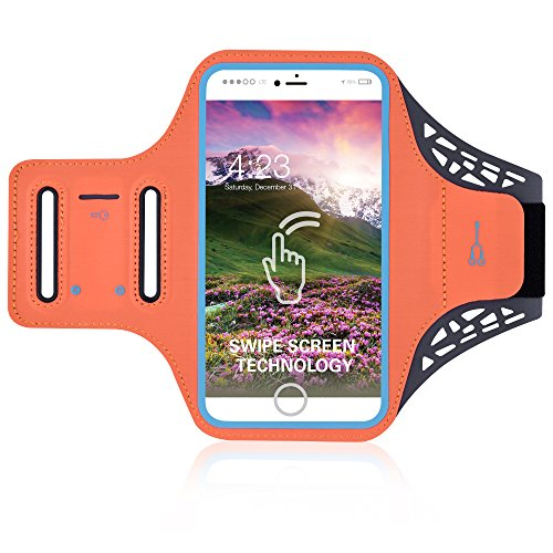 YOMAVI-Brazalete Funda Teléfono Smartphone Iphone/Samsung para Deporte – Soporte para auriculares y llave para Running, Bricolaje, Fitness, Footing, Motocicleta, Hombre Mujer, Naranja