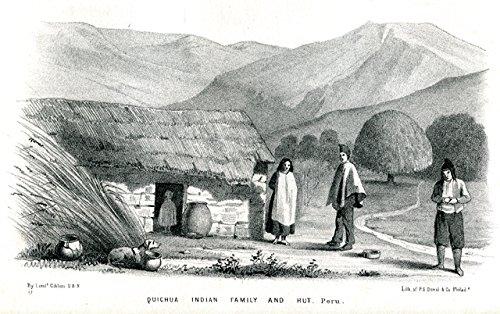 Quichua Indian family and hut - Peru - Völkerkunde - Lithographie