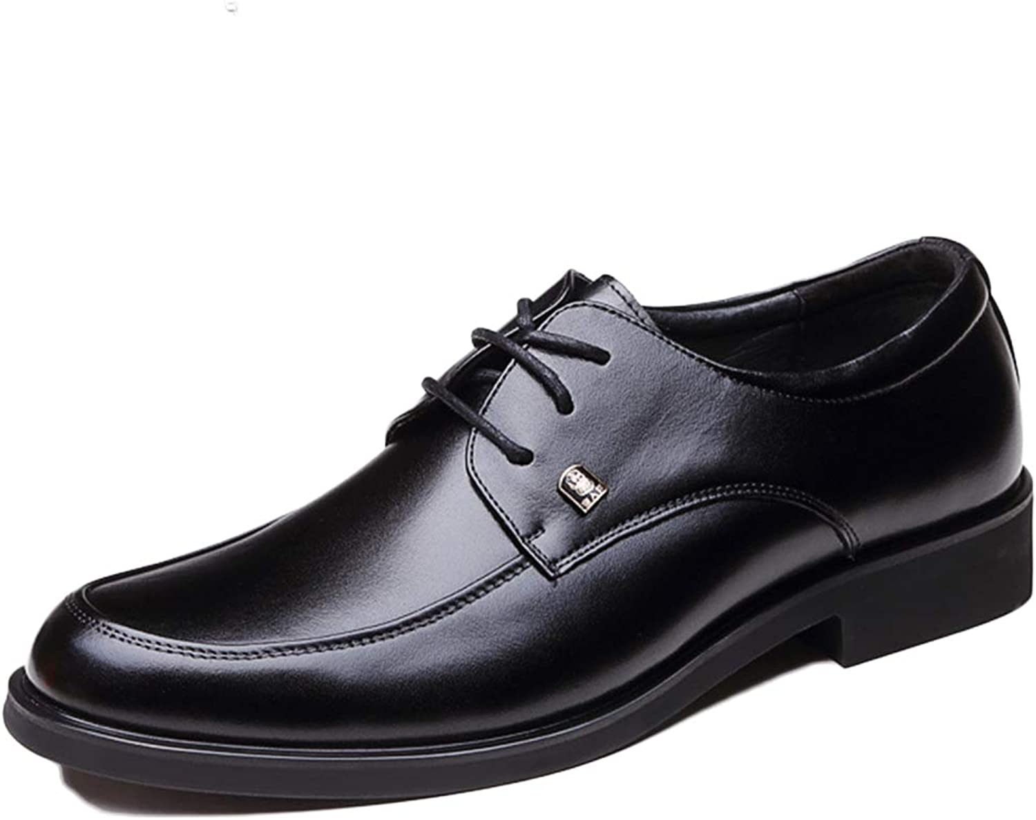 Mens Dress shoes Black Formal Business Oxfords Lace-up Autumn Winter shoes Leather shoes Round Head Wedding shoes
