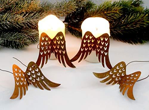 LB H&F Adventskranz Deko Advent Rost Metall Weihnachten (Engelsflügel)