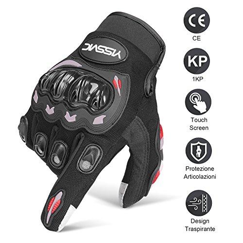 guanti da moto invernali YISSVIC Guanti da Moto Guanti Moto Marchio CE 1KP Touchscreen Antiscivolo con Fori Traspiranti Uomo Per Arrampicata Alpinismo Escursioni -Nero L