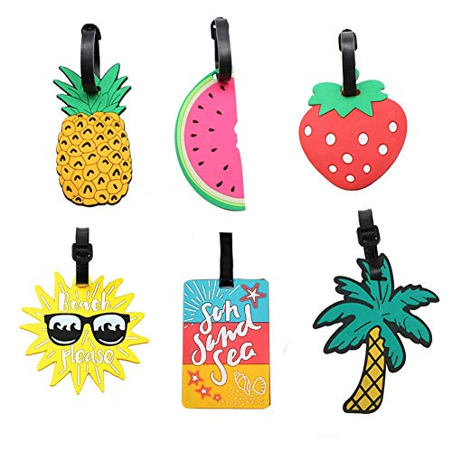 Luggage Labels for Kids Funny Luggage Tags PVC Fruit Various Patterns Name ID Labels for Suitcase Baggage Tag Travel Accessories-Set of 6