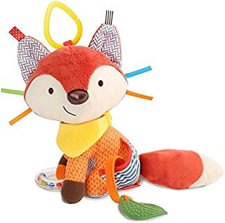 Skip Hop Bandana Buddies Baby Activity and Teething Toy with Multi-Sensory Rattle and Textures, Fox