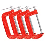 MAXPOWER 4-pieces C Clamps Set, 6 Inch C Clamp, Up To 6-Inch Jaw Opening, 2-3/4 Inch Throat Depth