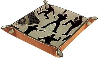 BestIdeas Panier de rangement carré 20,5 × 20,5 cm, avec silhouette de joueur de baseball, boîte de rangement sur table po...