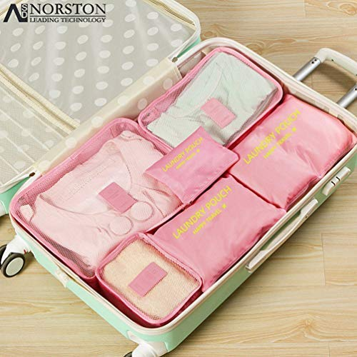 Packing Cubes, 6PCS Best Value Suitcase Organiser, Compressible Luggage Cubes, Luggage Organiser Travel Storage Bags, Ideal for Holiday Baggage, Backpacking, Air Travel, Laundry & Home Storage (Pink)