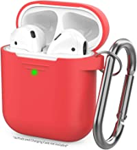 AhaStyle Upgrade AirPods Case Silicon Protective Cover [Front LED Visible] Compatible with Apple AirPods 2 and 1(Red)