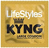 Lifestyles Kyng with Brass Lunamax Pocket Case, Larger Sized Lubricated Latex Condoms-24 Count
